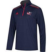 adidas Men's Columbus Blue Jackets Navy Performance Quarter-Zip Jacket
