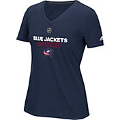 adidas Women's Columbus Blue Jackets Authentic Ice Ultimate Navy Performance V-Neck T-Shirt