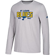 adidas Men's St. Louis Blues Go-To Established Grey Performance Long Sleeve Shirt