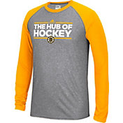 adidas Men's Boston Bruins Dassler Local Ultimate Grey/Gold Performance Long Sleeve Shirt