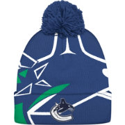 adidas Men's Vancouver Canucks Logo Navy Pom Knit Beanie