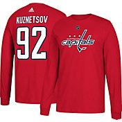 adidas Men's Washington Capitals Evgeny Kuznetsov #92 Red Long Sleeve Shirt