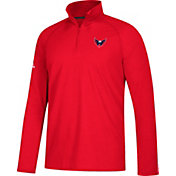 adidas Men's Washington Capitals Secondary Logo Ultimate Red Performance Quarter-Zip Pullover