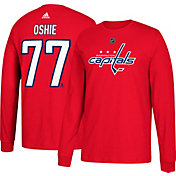 adidas Men's Washington Capitals T.J. Oshie #77 Red Long Sleeve Shirt