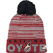 adidas Men's Arizona Coyotes Locker Room Maroon Pom Knit Beanie