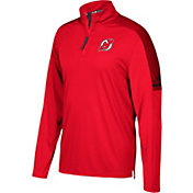 adidas Men's New Jersey Devils Authentic Pro Red Quarter-Zip Jacket