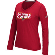adidas Women's Calgary Flames Local Dassler Red Performance V-Neck Long Sleeve Shirt