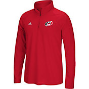 adidas Men's Carolina Hurricanes Logo Ultimate Red Performance Quarter-Zip Pullover