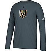 adidas Men's Vegas Golden Knights Primary Position Ultimate Grey Performance Long Sleeve Shirt