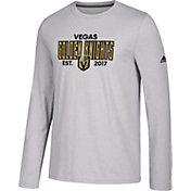 adidas Men's Vegas Golden Knights Go-To Established Grey Performance Long Sleeve Shirt