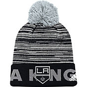 adidas Men's Los Angeles Kings Locker Room Black Pom Knit Beanie