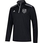 adidas Men's Los Angeles Kings Black Performance Quarter-Zip Jacket