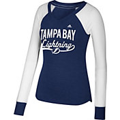 adidas Women's Tampa Bay Lightning Elbow Patch Royal V-Neck Long Sleeve Shirt