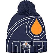 adidas Men's Edmonton Oilers Logo Navy Pom Knit Beanie