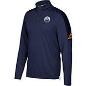 adidas Men's Edmonton Oilers Authentic Pro Navy Quarter-Zip Jacket
