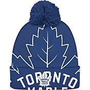 adidas Men's Toronto Maple Leafs Logo Royal Pom Knit Beanie