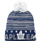 adidas Men's Toronto Maple Leafs Locker Room Royal Pom Knit Beanie