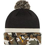 adidas Men's Pittsburgh Penguins Logo Camo Pom Knit Beanie