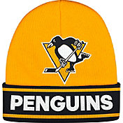 adidas Men's Pittsburgh Penguins Logo Gold Knit Beanie