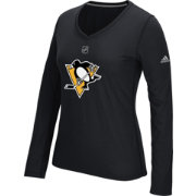 adidas Women's Pittsburgh Penguins Primary Position Black Performance V-Neck Long Sleeve Shirt