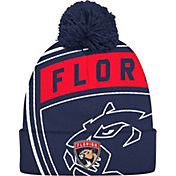 adidas Men's Florida Panthers Logo Navy Pom Knit Beanie