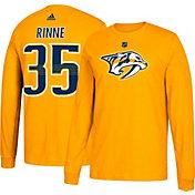 adidas Men's Nashville Predators Pekka Rinne #35 Gold Long Sleeve Shirt