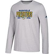 adidas Men's Nashville Predators Go-To Established Grey Performance Long Sleeve Shirt