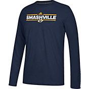 adidas Men's Nashville Predators Local Dassler Navy Performance Long Sleeve Shirt