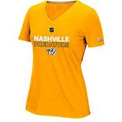 adidas Women's Nashville Predators Authentic Ice Ultimate Gold Performance V-Neck T-Shirt