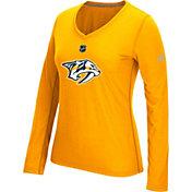 adidas Women's Nashville Predators Primary Position Gold Performance V-Neck Long Sleeve Shirt