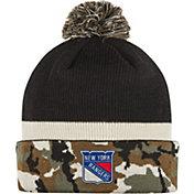 adidas Men's New York Rangers Logo Camo Pom Knit Beanie
