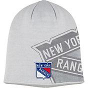 adidas Men's New York Rangers Logo White Knit Beanie