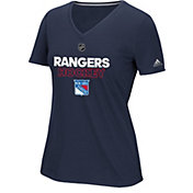 adidas Women's New York Rangers Authentic Ice Ultimate Navy Performance V-Neck T-Shirt