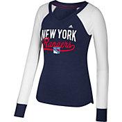 adidas Women's New York Rangers Elbow Patch Navy V-Neck Long Sleeve Shirt