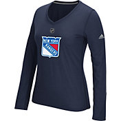 adidas Women's New York Rangers Primary Position Navy Performance V-Neck Long Sleeve Shirt