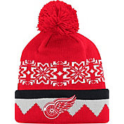 adidas Men's Detroit Red Wings Ugly Sweater Red Pom Knit Beanie