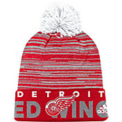 adidas Men's Detroit Red Wings Locker Room Red Pom Knit Beanie