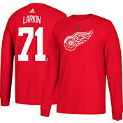 adidas Men's Detroit Red Wings Dylan Larkin #71 Red Long Sleeve Shirt