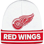 adidas Men's Detroit Red Wings Logo White Knit Beanie