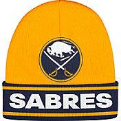 adidas Men's Buffalo Sabres Logo Gold Knit Beanie