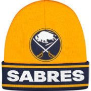 adidas Men's Buffalo Sabres Logo Gold Knit Beanie