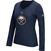 adidas Women's Buffalo Sabres Primary Position Navy Performance V-Neck Long Sleeve Shirt