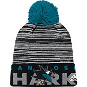 adidas Men's San Jose Sharks Locker Room Black Pom Knit Beanie