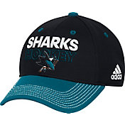 adidas Men's San Jose Sharks Locker Room Black Structured Fitted Flex Hat