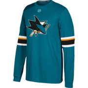 adidas Men's San Jose Sharks Jersey Teal Long Sleeve Shirt