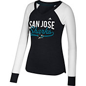 adidas Women's San Jose Sharks Elbow Patch Black/White V-Neck Long Sleeve Shirt