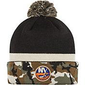 adidas Men's New York Islanders Logo Camo Pom Knit Beanie