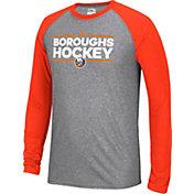 adidas Men's New York Islanders Dassler Local Ultimate Grey/Orange Performance Long Sleeve Shirt