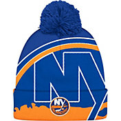 adidas Men's New York Islanders Logo Royal Pom Knit Beanie