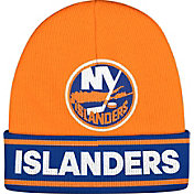 adidas Men's New York Islanders Logo Orange Knit Beanie